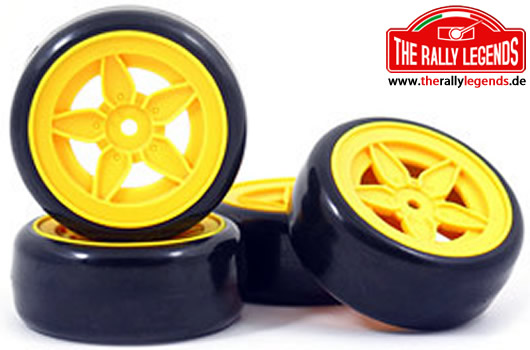 EZpower - EZRL2066 - Tires - 1/10 Drift - Mounted - Stratos 5 Spokes Yellow Wheels