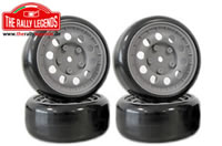Tires - 1/10 Drift - Mounted - Lancia 037 Magnesium Wheels