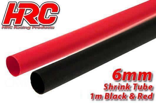 HRC Racing - HRC5112E - Guaina termoretraibile -  6mm - Rosso and Nero (1m ogni)