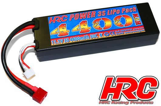 HRC Racing - HRC02344D - Battery - LiPo 3S - 11.1V 4400mAh 50C - RC Car - HRC 4400 - Hard Case - Ultra T Plug