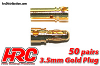 Connector - Gold - 3.5mm  - Male & Female (50 pairs)