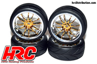 Tires - 1/10 Touring - mounted - Split-Six Gold/Chrome Wheels - 12mm Hex - HRC High Grip Street-V (4 pcs)
