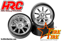 Tires - 1/10 Drift - mounted - Chrome Wheels - 12mm Hex - HRC Sparkling Drift Fire Tire (4 pcs)