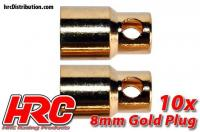 Connector - Gold - 8.0mm - Female (10 pcs)