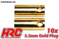 Connector - Gold - 5.5mm - Female (10 pcs)