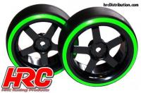 Tires - 1/10 Drift - mounted - 5-Spoke Wheels 3mm Offset - Dual Color - Slick - Black/Green (2 pcs)