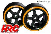 Tires - 1/10 Drift - mounted - 5-Spoke Wheels 3mm Offset - Dual Color - Slick - Black/Orange (2 pcs)