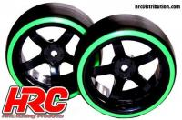 Tires - 1/10 Drift - mounted - 5-Spoke Wheels 6mm Offset - Dual Color - Slick - Black/Green (2 pcs)