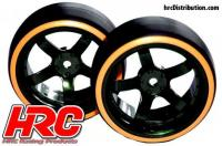 Tires - 1/10 Drift - mounted - 5-Spoke Wheels 6mm Offset - Dual Color - Slick - Black/Orange (2 pcs)