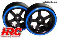 Tires - 1/10 Drift - mounted - 5-Spoke Wheels 3mm Offset - Dual Color - Slick - Black/Blue (2 pcs)