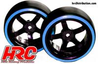 Tires - 1/10 Drift - mounted - 5-Spoke Wheels 6mm Offset - Dual Color - Slick - Black/Blue (2 pcs)
