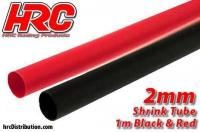 Shrink Tube -  2mm - Red and Black (1m each)