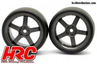 Tires - 1/10 Drift - mounted - 5-Spoke Gunmetal Wheels 3mm Offset - Slick (2 pcs)