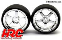 Tires - 1/10 Drift - mounted - 5-Spoke Chrome Wheels 3mm Offset - Slick (2 pcs)