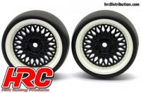 Tires - 1/10 Drift - mounted - CLS Black/White Wheels 3mm Offset - Slick (2 pcs)