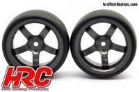 Tires - 1/10 Drift - mounted - 5-Spoke Gunmetal Wheels 6mm Offset - Slick (2 pcs)