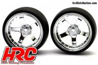 Tires - 1/10 Drift - mounted - 5-Spoke Chrome Wheels 6mm Offset - Slick (2 pcs)
