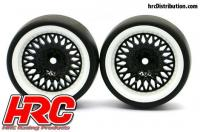 Tires - 1/10 Drift - mounted - CLS Black/White Wheels 6mm Offset - Slick (2 pcs)