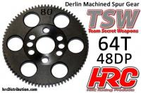Spur Gear - 48DP - Low Friction Machined Delrin - TSW Pro Racing -  64T