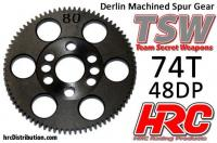 Spur Gear - 48DP - Low Friction Machined Delrin - TSW Pro Racing -  74T