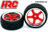 Tires - 1/10 Touring - mounted - 5-Stars Red/Chrome Wheels - 12mm hex - HRC High Grip Street-V (2 pcs)