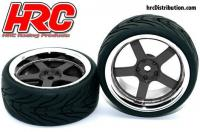 Tires - 1/10 Touring - mounted - 5-Stars Black/Chrome Wheels - 12mm hex - HRC High Grip Street-V (2 pcs)