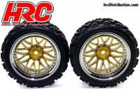 Tires - 1/10 Rally - mounted - Gold/Chrome Wheels - 12mm Hex - HRC Rally (2 pcs)