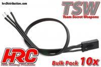 Cavo di Servo - TSW Pro Racing - JR tipo -  30cm Lungo - All-Black (Nero/Nero/Nero) - BULK 10 pzi
