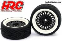 Tires - 1/10 Touring - mounted - CLS Black/White Wheels - 12mm Hex - HRC Street-V II (2 pcs)