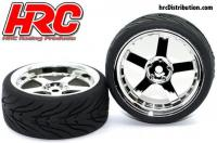 Tires - 1/10 Touring - mounted -  5-Spoke Chrome Wheels - 12mm Hex - HRC Street-V II (2 pcs)