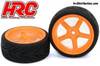 Tires - 1/10 Touring - mounted - 5-Spoke Orange Wheels - 12mm Hex - HRC Street-V II (2 pcs)