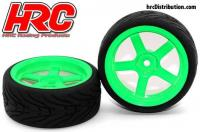Tires - 1/10 Touring - mounted - 5-Spoke Green Wheels - 12mm Hex - HRC Street-V II (2 pcs)