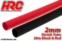 Shrink Tube -  2mm - Red and Black (20m each)