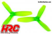 FPV Racing Propellers - 3-blades - PC Material - 5045 Type - ID M5 / 7mm Hub - 2x CW + 2x CCW - Clear Green