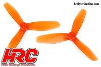 FPV Racing Propellers - 3-blades - PC Material - 5045 Type - ID M5 / 7mm Hub - 2x CW + 2x CCW - Clear Orange