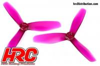 FPV Racing Propellers - 3-blades - PC Material - 5045 Type - ID M5 / 7mm Hub - 2x CW + 2x CCW - Clear Purple