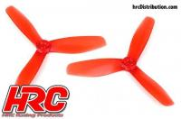 FPV Racing Propellers - 3-blades - PC Material - 5045 Type - ID M5 / 7mm Hub - 2x CW + 2x CCW - Clear Red