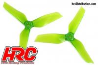 FPV Racing Propellers - 3-blades - PC Material - 5051 Type - ID M5 / 7mm Hub - 2x CW + 2x CCW - Clear Green