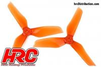FPV Racing Propellers - 3-blades - PC Material - 5051 Type - ID M5 / 7mm Hub - 2x CW + 2x CCW - Clear Orange