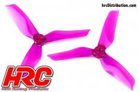 FPV Racing Propellers - 3-blades - PC Material - 5051 Type - ID M5 / 7mm Hub - 2x CW + 2x CCW - Clear Purple