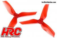 FPV Racing Propellers - 3-blades - PC Material - 5051 Type - ID M5 / 7mm Hub - 2x CW + 2x CCW - Clear Red