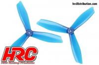 FPV Racing Propellers - 3-blades - PC Material - 6045 Type - ID M5 / 7mm Hub - 2x CW + 2x CCW - Clear Blue