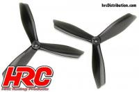 FPV Racing Propellers - 3-blades - PC Material - 6045 Type - ID M5 / 7mm Hub - 2x CW + 2x CCW - Clear Black