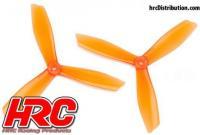 FPV Racing Propellers - 3-blades - PC Material - 6045 Type - ID M5 / 7mm Hub - 2x CW + 2x CCW - Clear Orange