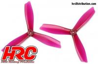 FPV Racing Propellers - 3-blades - PC Material - 6045 Type - ID M5 / 7mm Hub - 2x CW + 2x CCW - Clear Purple