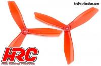 FPV Racing Propellers - 3-blades - PC Material - 6045 Type - ID M5 / 7mm Hub - 2x CW + 2x CCW - Clear Red