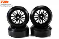 Tires - 1/10 Drift - mounted - 15-Spoke wheels - 12mm Hex - Extra Hard (4 pcs)