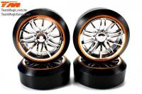 Tires - 1/10 Drift - mounted - Starlight Wheels Silver / Gold - 12mm Hex - 45° - Hard (4 pcs)