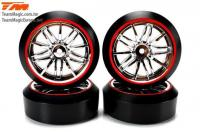 Tires - 1/10 Drift - mounted - Starlight Wheels Silver / Red - 12mm Hex - 45° - Hard (4 pcs)