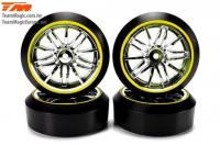 Tires - 1/10 Drift - mounted - Starlight Wheels Silver / Yellow - 12mm Hex - 45° - Hard (4 pcs)